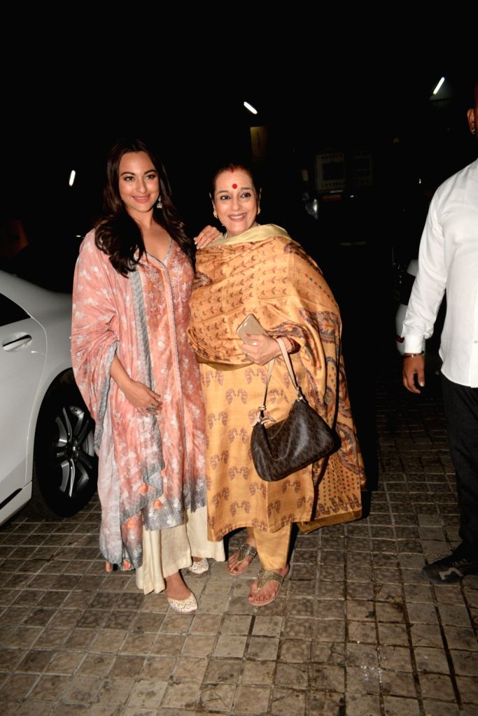 "Actress Sonakshi Sinha with her mother Poonam Sinha at the screening of her upcoming film ""Kalank"" in Mumbai, on April 14, 2019. - Sonakshi Sinha and Poonam Sinha"