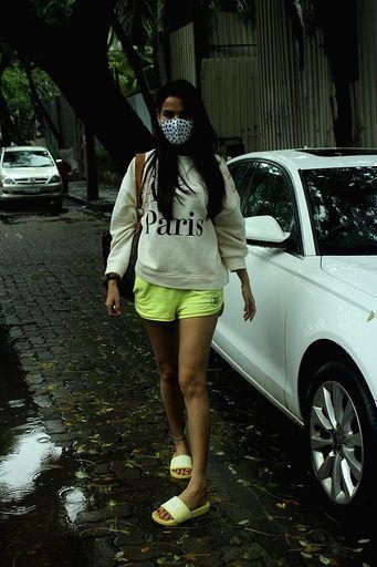 Actress Sonal Chauhan seen at Juhu in Mumbai on Aug 12, 2020. - Sonal Chauhan