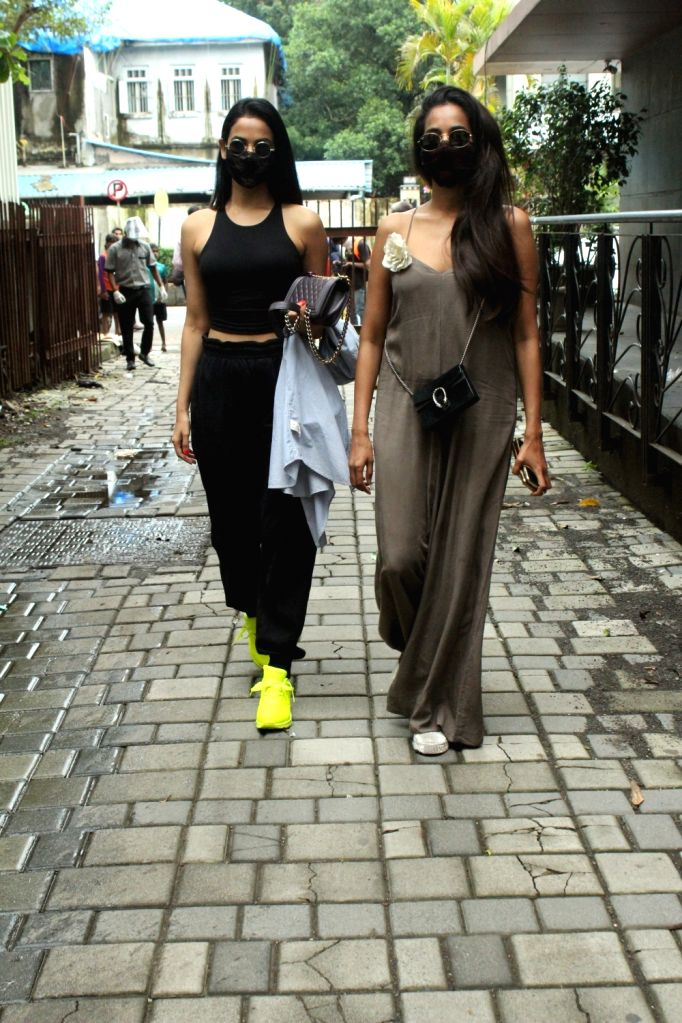 Actress Sonal Chauhan with sister seen in Mumbai's Juhu on July 29, 2020. - Sonal Chauhan