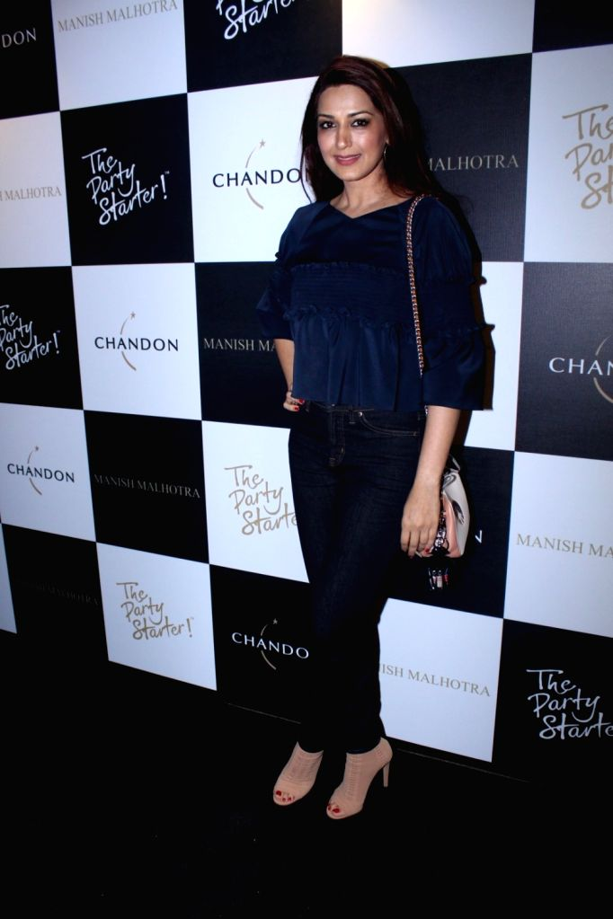 Actress Sonali Bendre during the launch of Manish Malhotra X Chandon Champagne bottles Limited Edition End Of Year 2017 in Mumbai on Oct 9, 2017. - Sonali Bendre