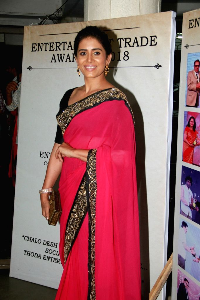 Actress Sonali Kulkarni during Entertainment Trade Awards 2018 in Mumbai. - Sonali Kulkarni