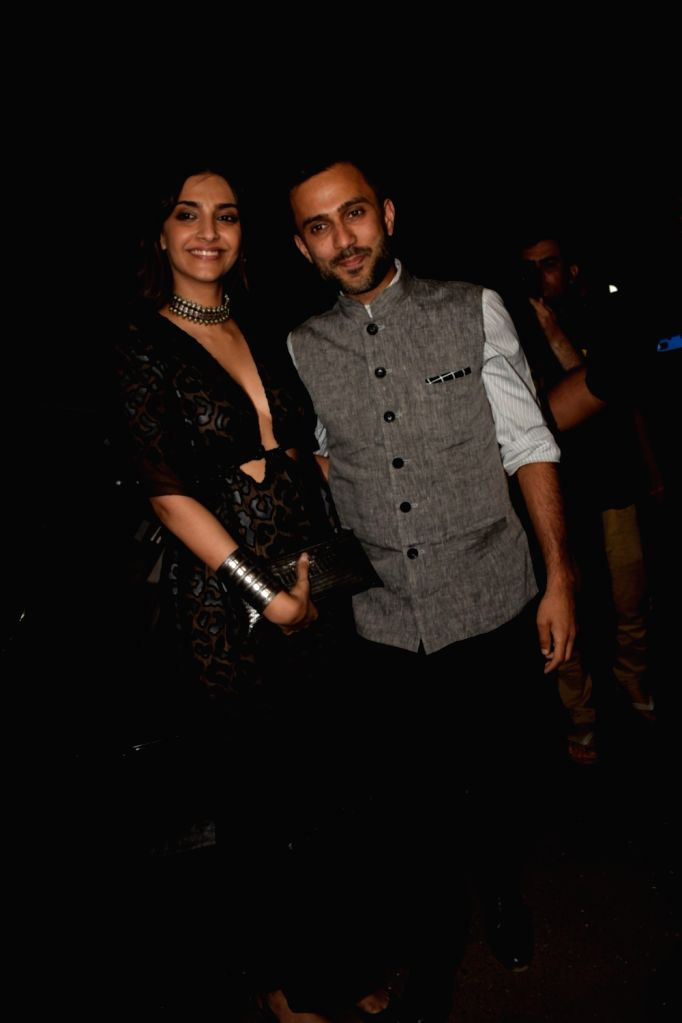 Actress Sonam Kapoor along with her Anand Ahuja during the launch of Jacqueline Fernandez's new restaurant in Mumbai on June 1, 2018. - Sonam Kapoor