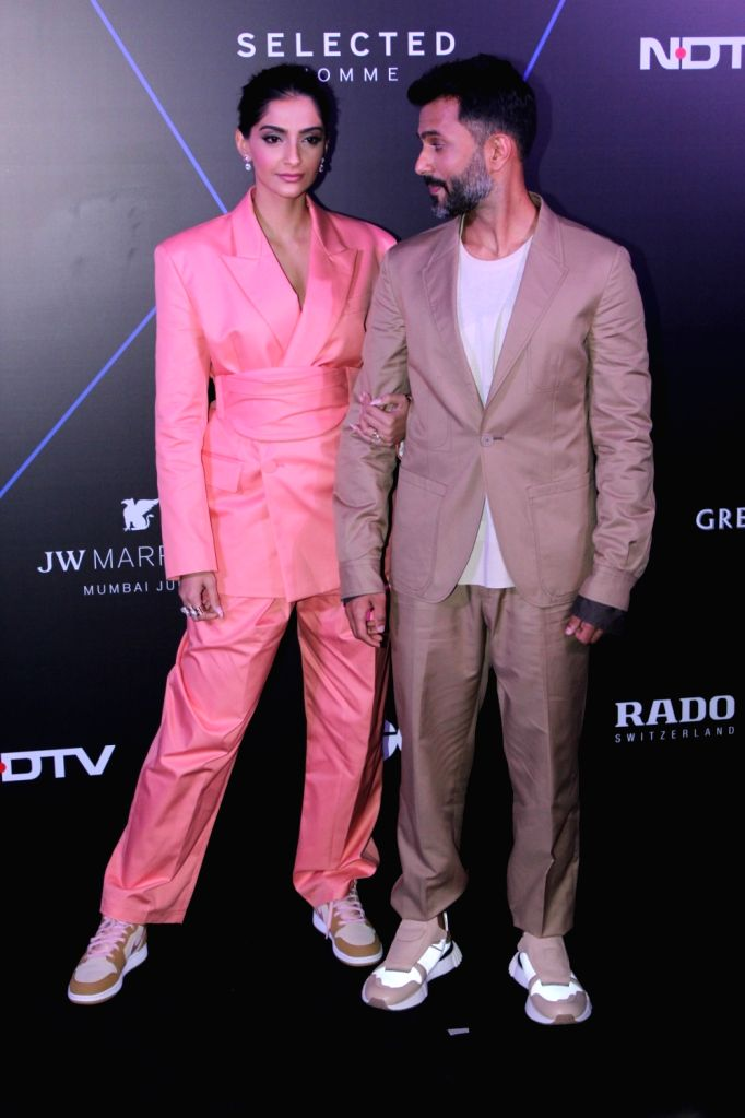 """Actress Sonam Kapoor and her husband Anand Ahuja at """"GQ 100 Best Dressed Awards 2019"""", in Mumbai, on June 1, 2019. - Sonam Kapoor"""