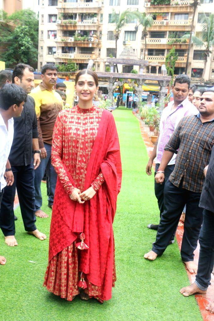 Actress Sonam Kapoor arrives at Andheri cha Raja pandal on Ganesh Chaturthi in Mumbai, on Sep 5, 2019. - Sonam Kapoor