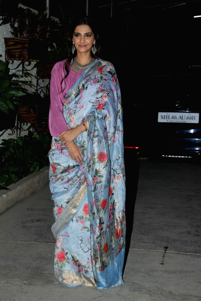 "Actress Sonam Kapoor arrives at the screening of the film ""Bhavesh Joshi Superhero"" in Mumbai on May 31, 2018. - Sonam Kapoor and Bhavesh Joshi Superhero"