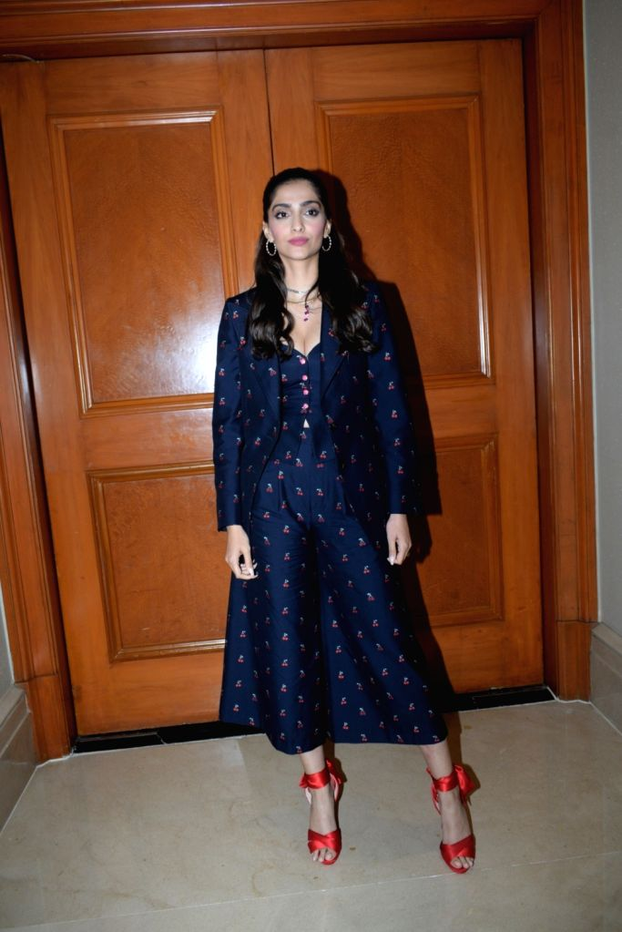 "Actress Sonam Kapoor at the promotion of her upcoming film ""The Zoya Factor"" in Mumbai, on Sep 5, 2019. - Sonam Kapoor"