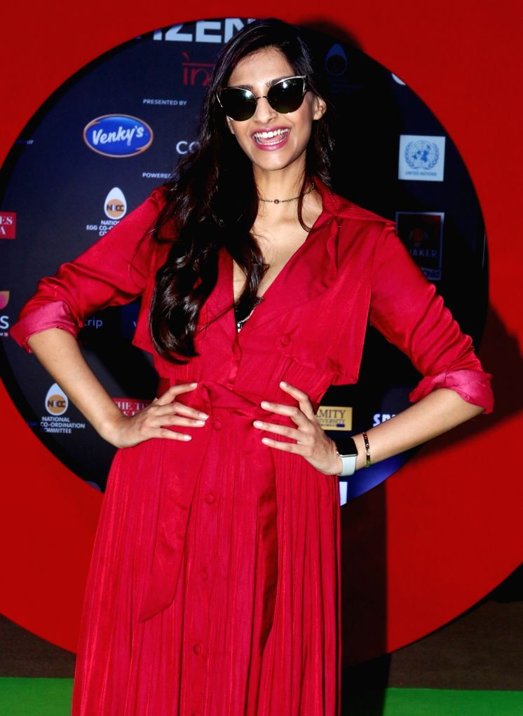 Actress Sonam Kapoor during the Global Citizen Festival India 2016, in Mumbai on Nov 19, 2016. - Sonam Kapoor