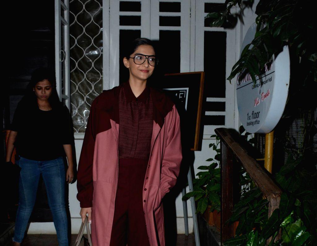 Actress Sonam Kapoor seen at a Bandra studio in Mumbai on Feb 11, 2019. (Photo: IANS). - Sonam Kapoor