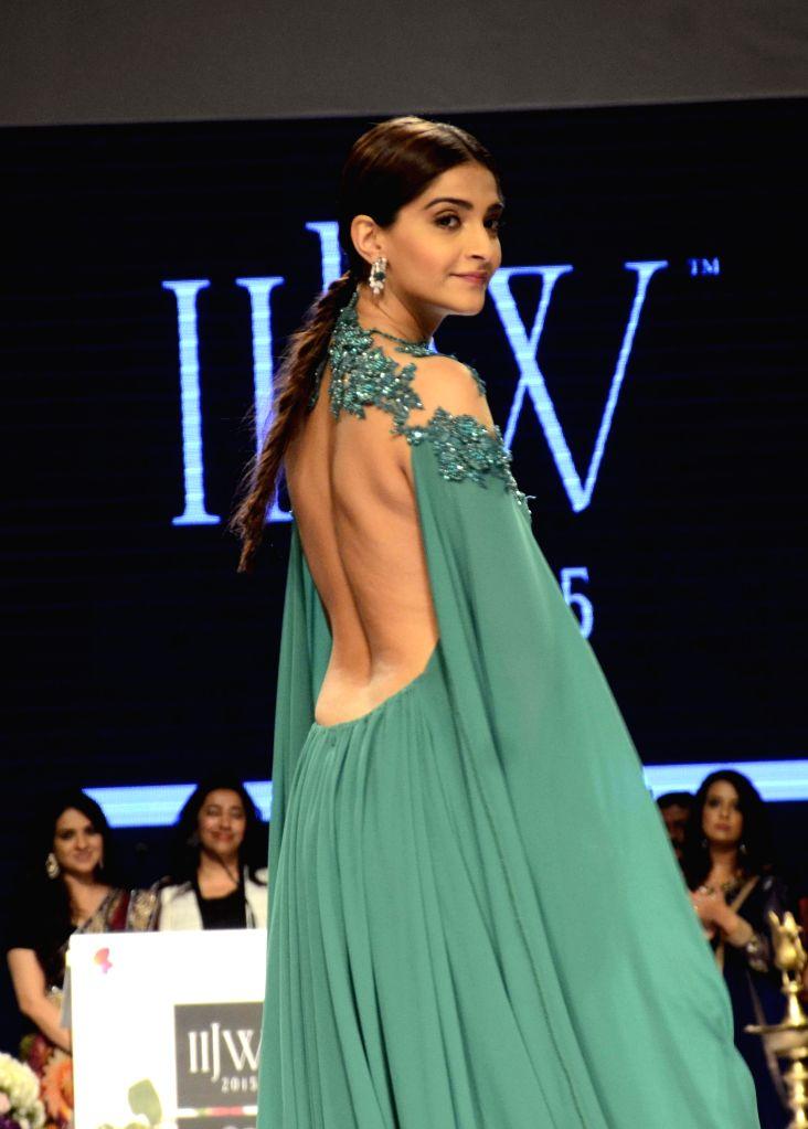 Actress Sonam Kapoor showcase creation of fashion designer Shaina NC at the India International Jewellery Week 2015, in Mumbai on Aug 3, 2015.
