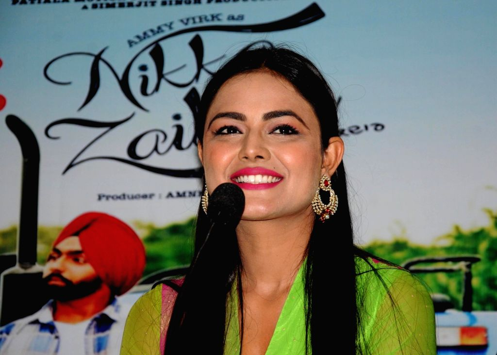 "Actress Sonia Kaur during a press conference to promote of their upcoming Punjabi film ""Nikka Zaildar"" in Amritsar on Sept 26, 2016. - Sonia Kaur"