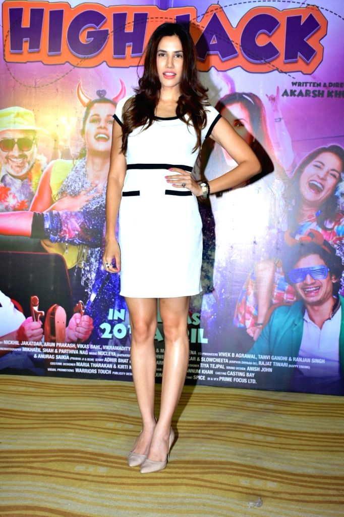 "Actress Sonnalli Seygall during the trailer launch of her upcoming film ""High Jack"", in Mumbai on March 27, 2018. - Sonnalli Seygall"