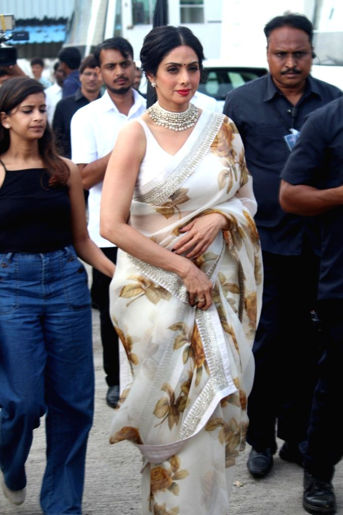 "Actress Sridevi Boney Kapoor on the sets of ""Sa Re Ga Ma Pa Li'l Champs Season 6"" to promote her upcoming film ""Mom"" in Mumbai, on July 7, 2017. - Sridevi Boney Kapoor"