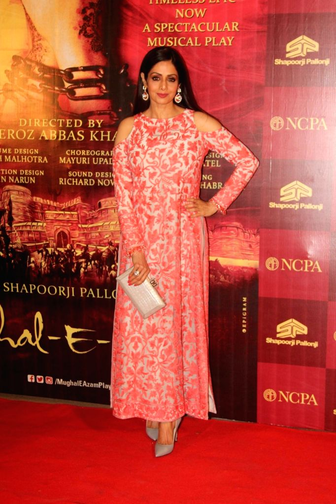 Actress Sridevi during the red carpet of musical play Mughal E Azam, in Mumbai,  on Oct 21, 2016. - Sridevi