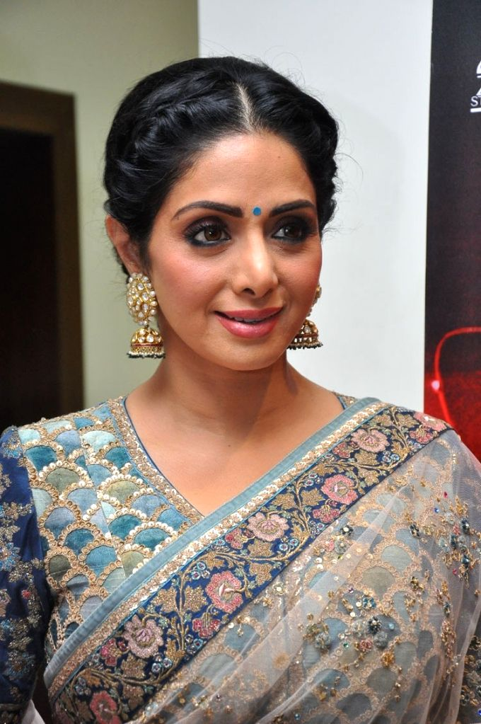 "Actress Sridevi during the trailer launch of her upcommiing film ""Mom"" in Hyderabad - Sridevi"