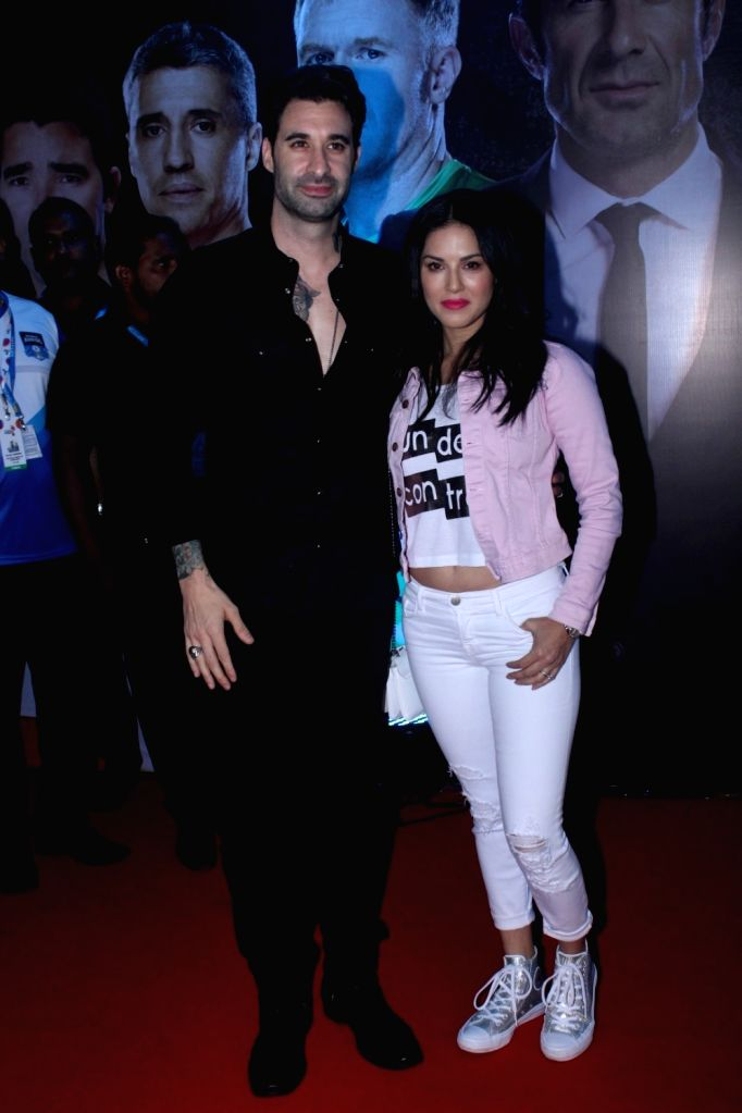 "Actress Sunny Leone along with her husband Daniel Weber during the grand launch of ""Premier Futsal Season 2 Feat"" in Mumbai on Sept 15, 2017. - Sunny Leone"