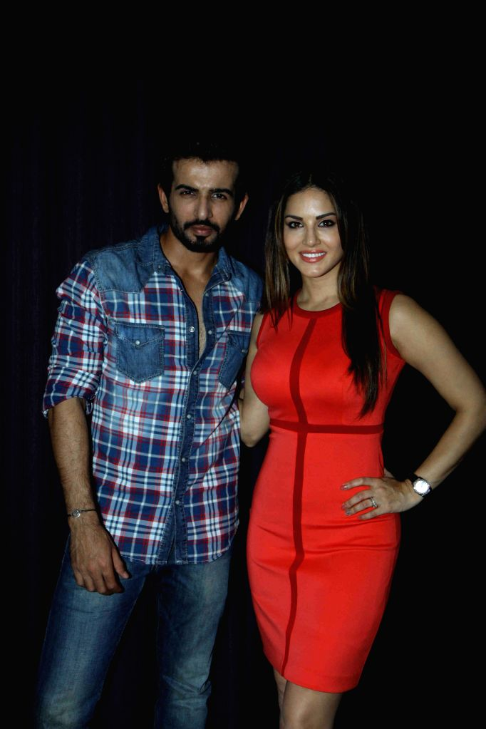 Actress Sunny Leone and Jay Bhanushali during the promotion of film Ek Paheli Leela in Mumbai on March 30, 2015. - Sunny Leone