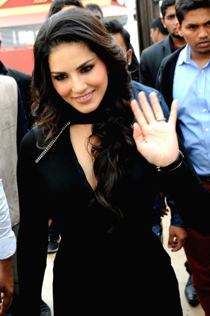 Actress Sunny Leone during a  promotional event of her upcoming film `Jackpot` in Bangalore on Dec.13, 2013.
