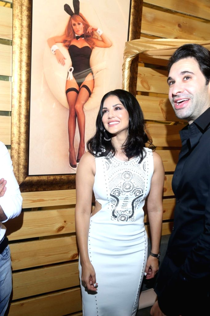 Actress Sunny Leone during the launch of Playboy Cafe in Gurgaon. - Sunny Leone