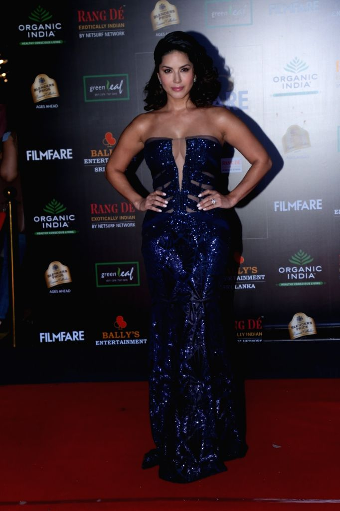 Actress Sunny Leone on the red carpet of Filmfare Glamour And Style Awards 2019 in Mumbai on Dec 3, 2019. - Sunny Leone