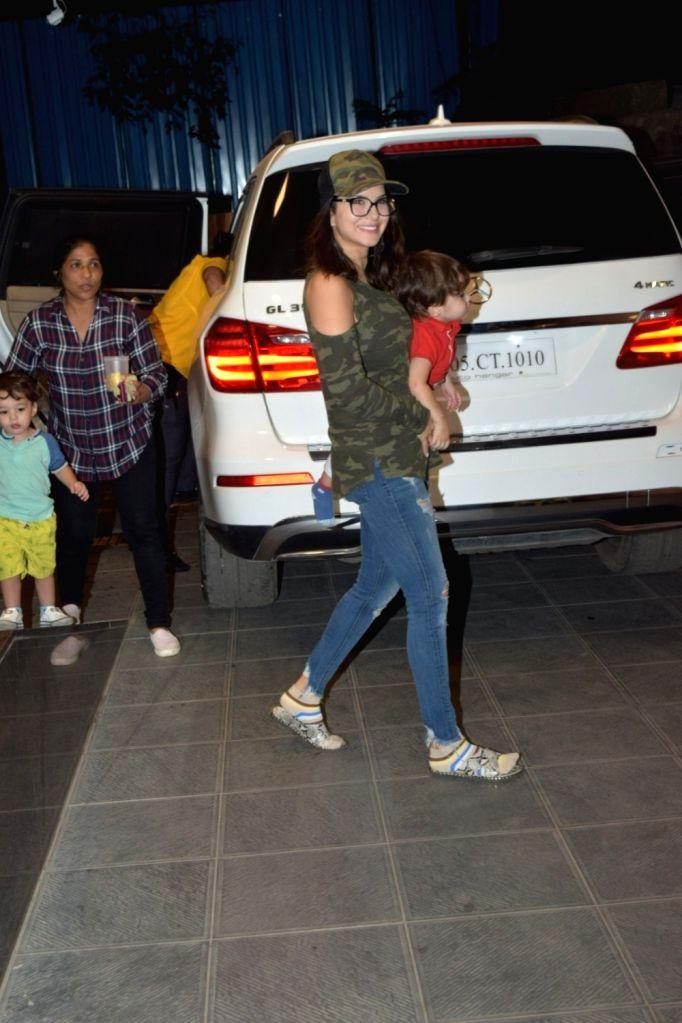 Actress Sunny Leone seen at Juhu in Mumbai on Dec 3, 2019. - Sunny Leone