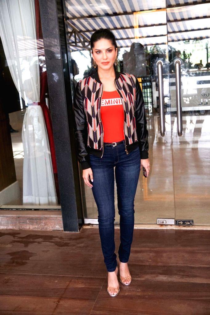 Actress Sunny Leone seen at Mumbai's Juhu on Sept 17, 2018. - Sunny Leone