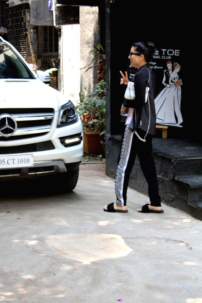 Actress Sunny Leone seen in Mumbai's Juhu, on March 13, 2019. - Sunny Leone