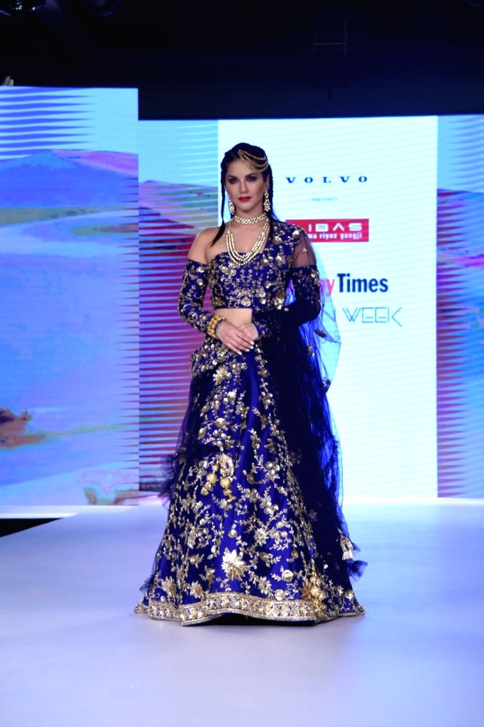 Actress Sunny Leone walks the ramp during the Bombay Times Fashion Week in Mumbai on Sept 9, 2017. - Sunny Leone