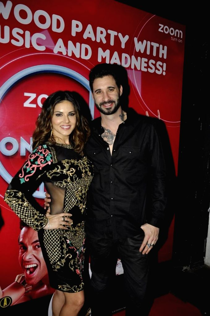 Actress Sunny Leone with husband Daniel Weber during the promotion of film Mastizaade in Mumbai. - Sunny Leone