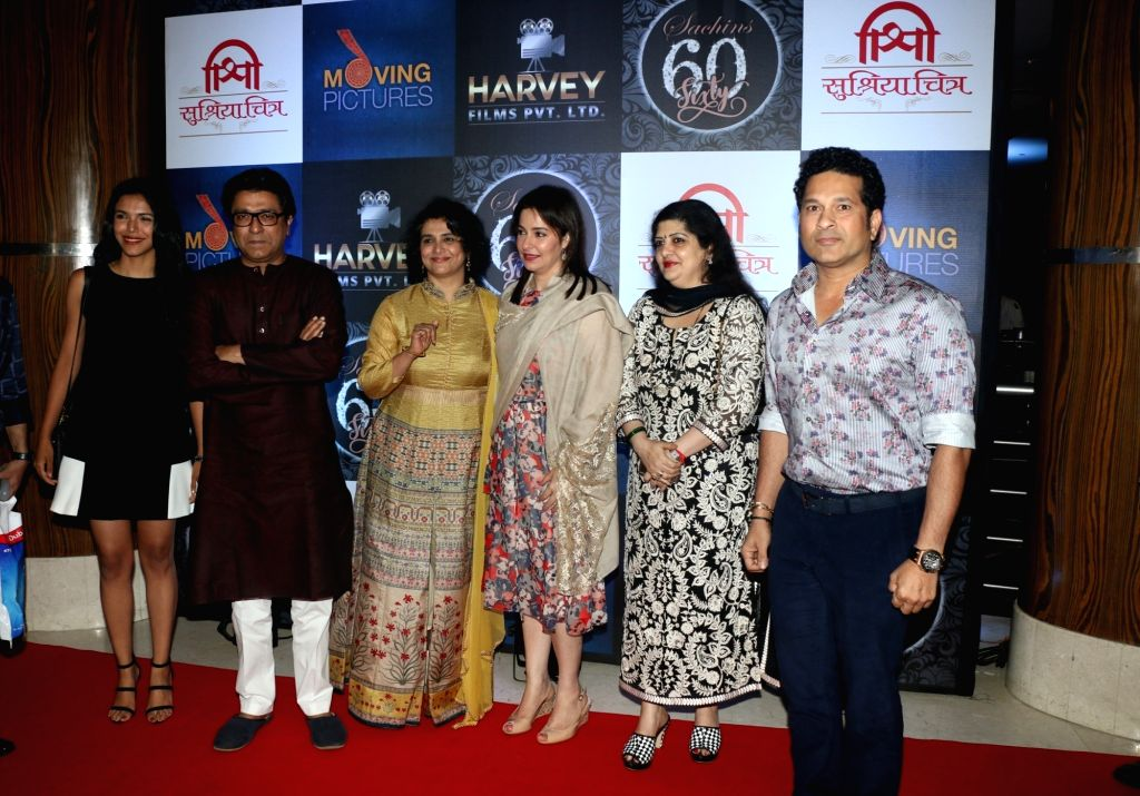 Actress Supriya Pilgaonkar and Cricketer Sachin Tendulkar along with her wife Anjali Tendulkar during the birthday celebration of Sachin Pilgaonkar in Mumbai on Aug 17, 2017. - Supriya Pilgaonkar and Sachin Tendulkar