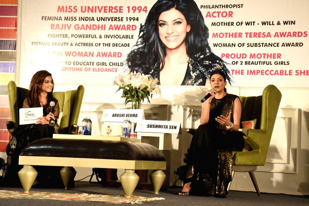 Actress Sushmita Sen addresses during an interactive session organised by FICCI Ladies Organisation (FLO) on the occasion of Mother's Day, in Amritsar on May 11, 2019. - Sushmita Sen