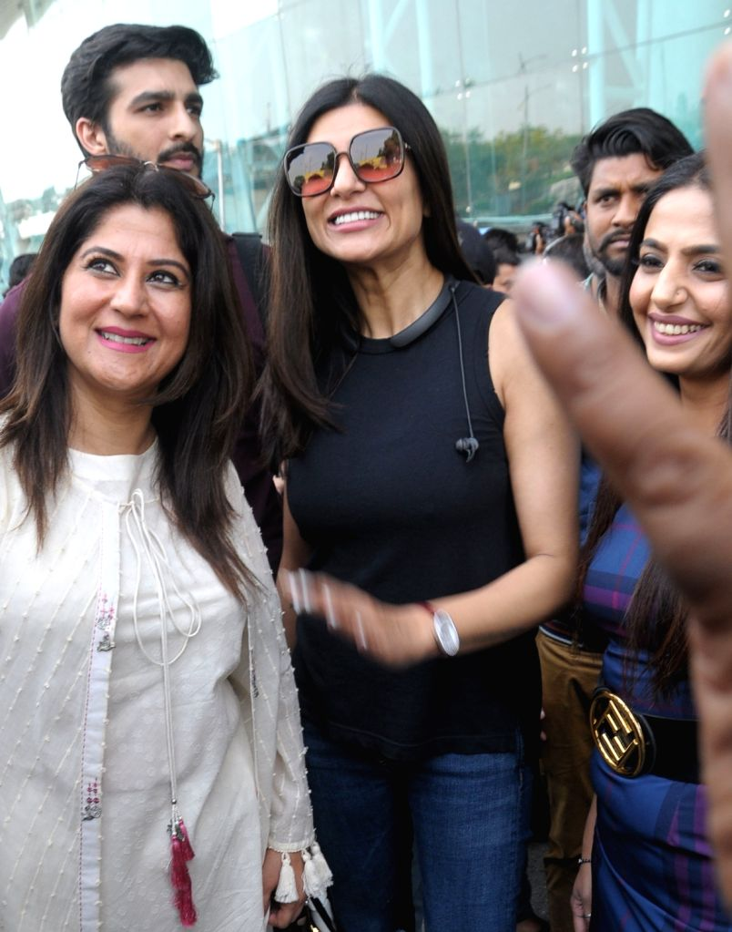 Actress Sushmita Sen arrives at Sri Guru Ram Dass Jee International Airport in Amritsar, on May 10, 2019. - Sushmita Sen