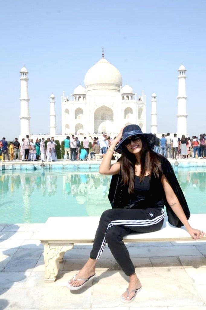Actress Sushmita Sen during her visit to the Taj Mahal in Agra on Oct 25, 2018. - Sushmita Sen