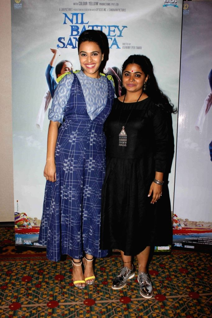 Actress Swara Bhaskar and filmmaker Ashwiny Iyer Tiwari during the press conference of film Nil Battey Sannata in Mumbai on April 11, 2016. - Swara Bhaskar