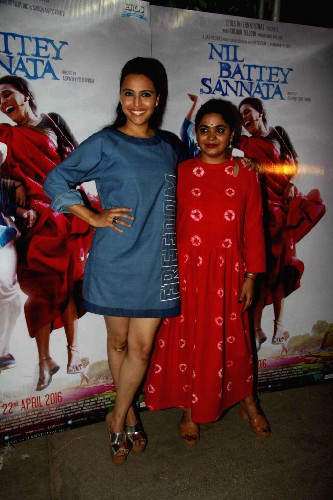 Actress Swara Bhaskar and filmmaker Ashwiny Iyer during the special screening of film Nil Battey Sannata in Mumbai on April 20, 2016. - Swara Bhaskar