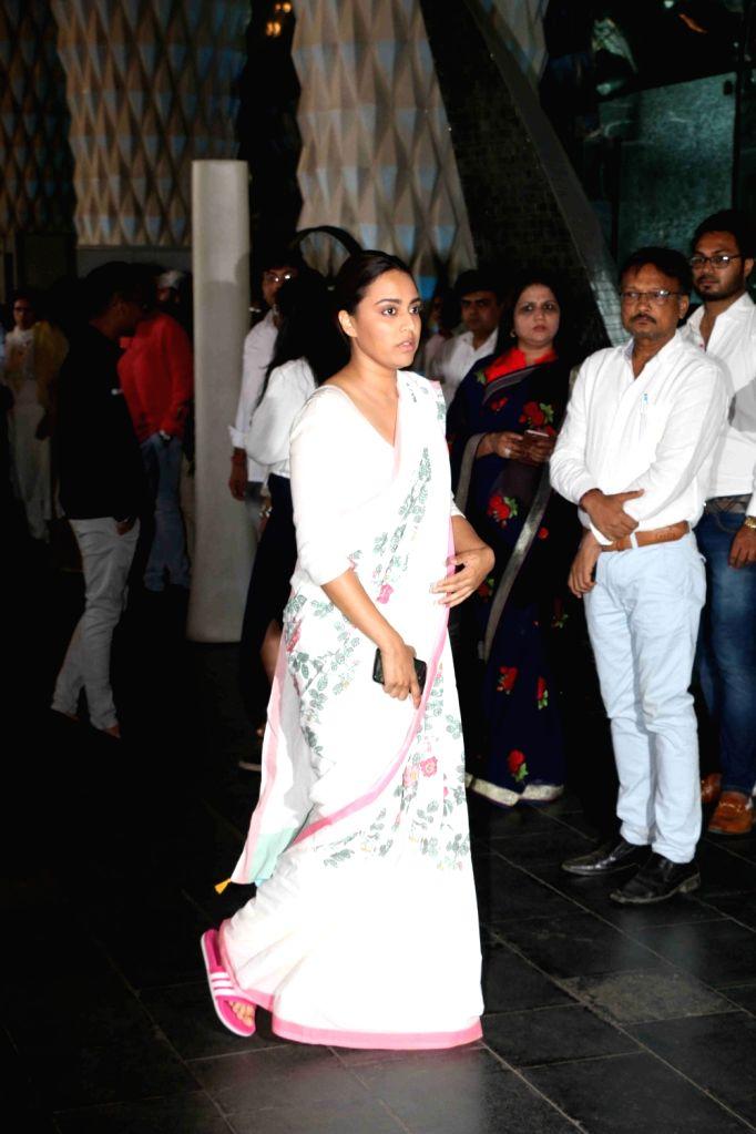 Actress Swara Bhaskar arrives at a prayer meet organised for late producer Raj Kumar Barjatya in Mumbai, on Feb 23, 2019. - Swara Bhaskar and Kumar Barjatya