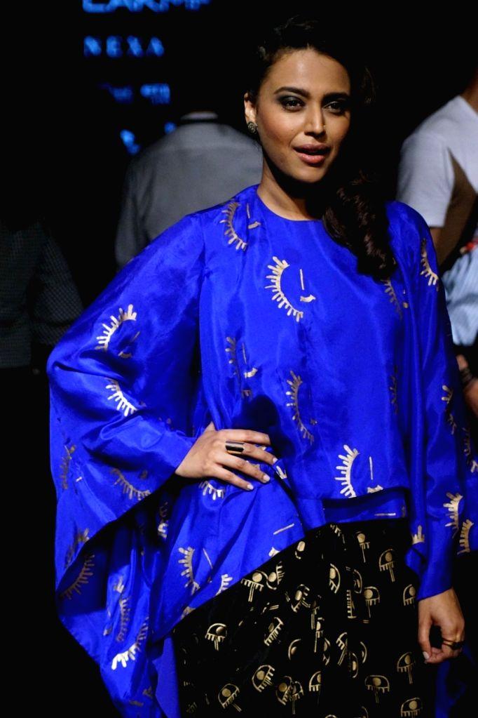 Actress Swara Bhaskar during the Lakme Fashion Week 2017 in Mumbai on Aug 16, 2017. - Swara Bhaskar