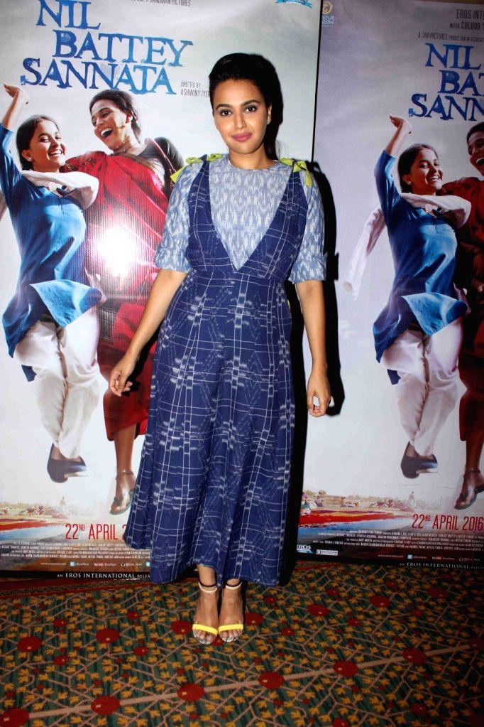 Actress Swara Bhaskar during the press conference of film Nil Battey Sannata in Mumbai on April 11, 2016. - Swara Bhaskar
