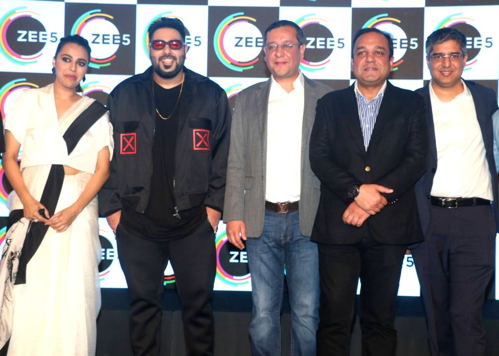 Actress Swara Bhasker and rapper Badshah at the launch of  ZEE5 digital entertainment in Mumbai on Feb 14, 2018. - Swara Bhasker