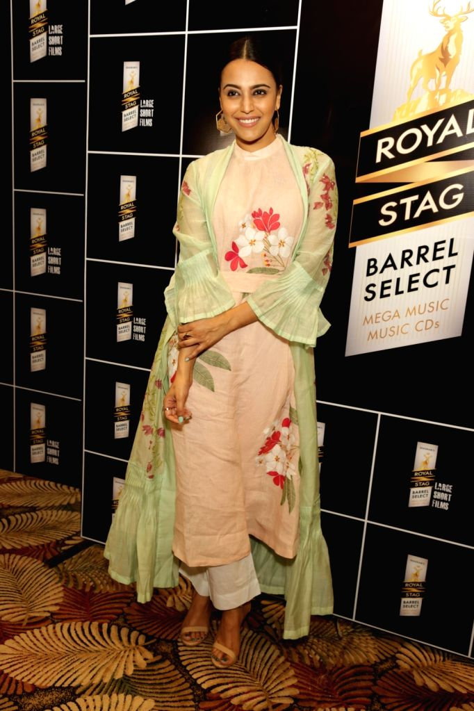 Actress Swara Bhasker at a panel discussion hosted by Royal Stag Barrel Select Large Short Films in Gurugram on Feb 10, 2018. - Swara Bhasker