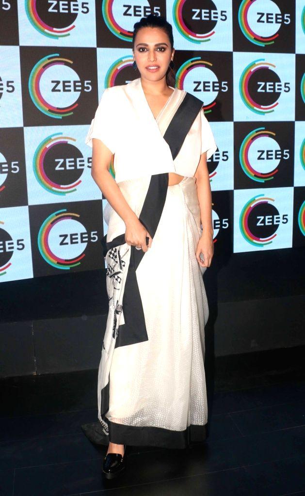 Actress Swara Bhasker at the launch of  ZEE5 digital entertainment in Mumbai on Feb 14, 2018. - Swara Bhasker
