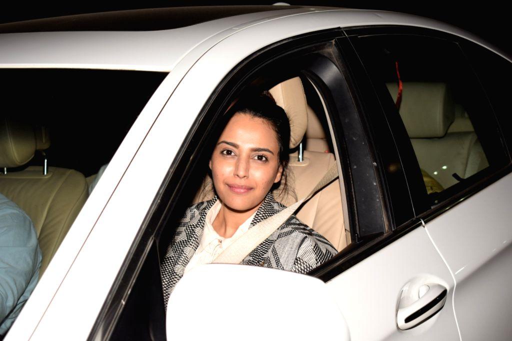"""Actress Swara Bhasker at the special screening of upcoming film """"PadMan"""" in Mumbai on Feb 5, 2018. - Swara Bhasker"""