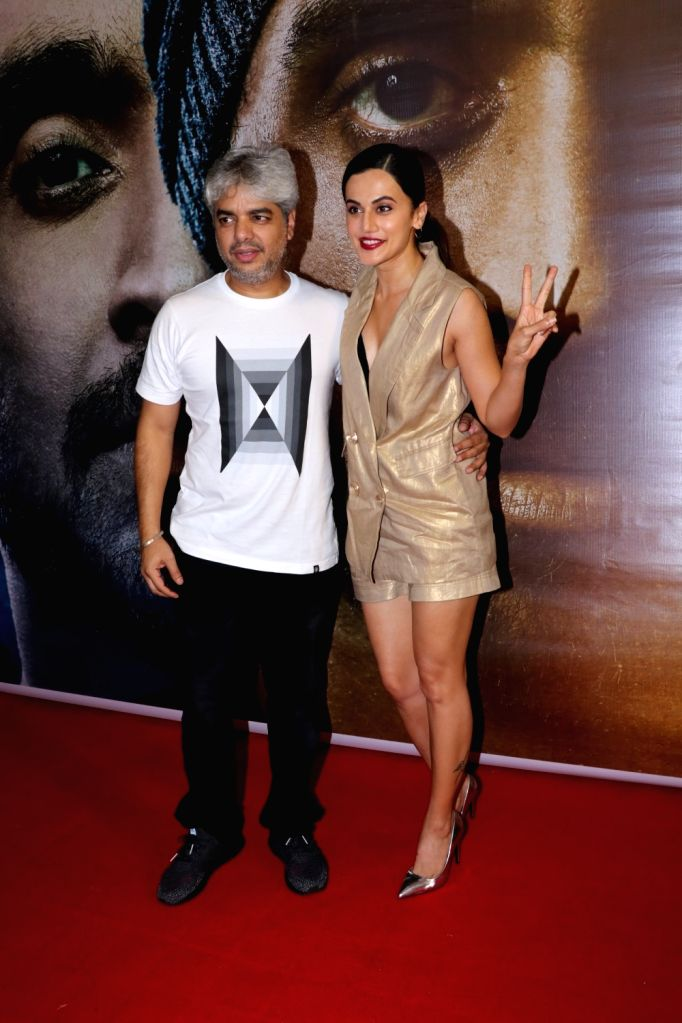 """Actress Taapsee Pannu and director Shaad Ali at the success party of their film """"Soorma"""" in Mumbai on Aug 3, 2018. - Taapsee Pannu"""