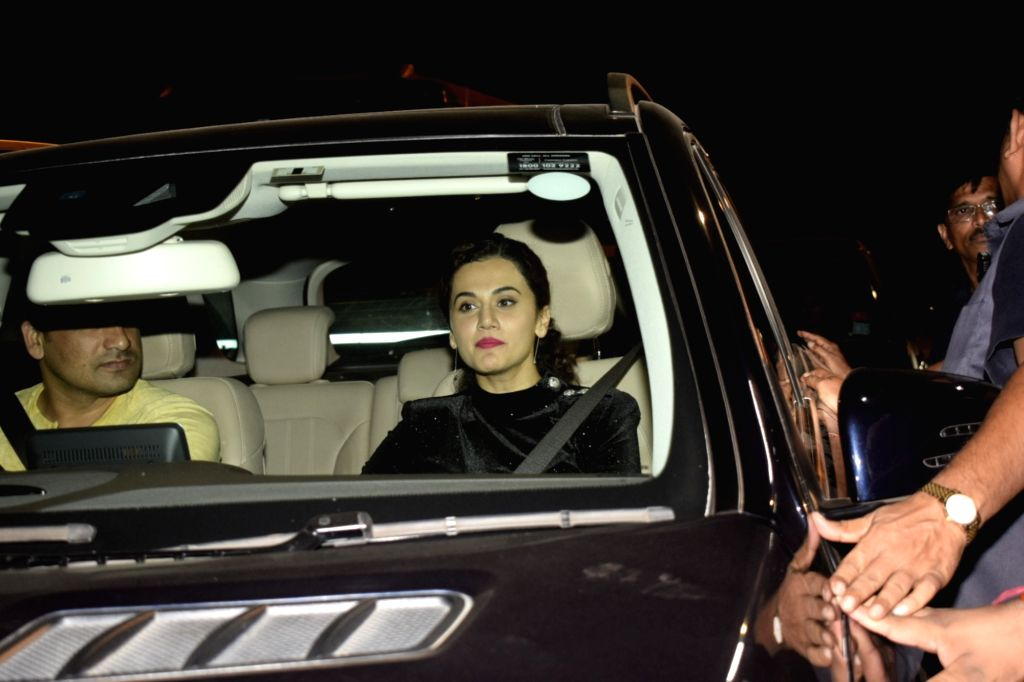 Actress Taapsee Pannu arrives for Diwali bash hosted by Shah Rukh Khan and Gauri Khan at their residence in Mumbai on Nov 4, 2018. - Taapsee Pannu and Rukh Khan
