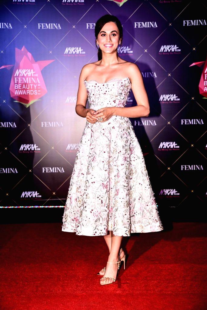 Actress Taapsee Pannu at Nykaa Femina Beauty Awards 2019, in Mumbai, on Feb 20, 2019. - Taapsee Pannu