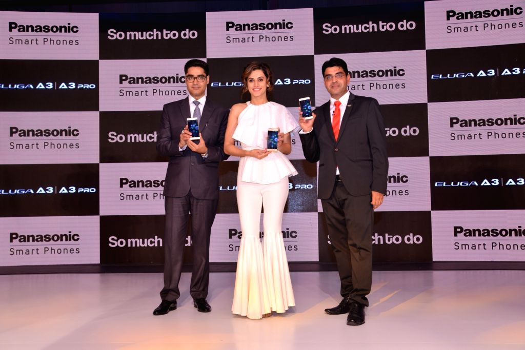 Actress Taapsee Pannu at the launch of Panasonic A3 smartphone. - Taapsee Pannu