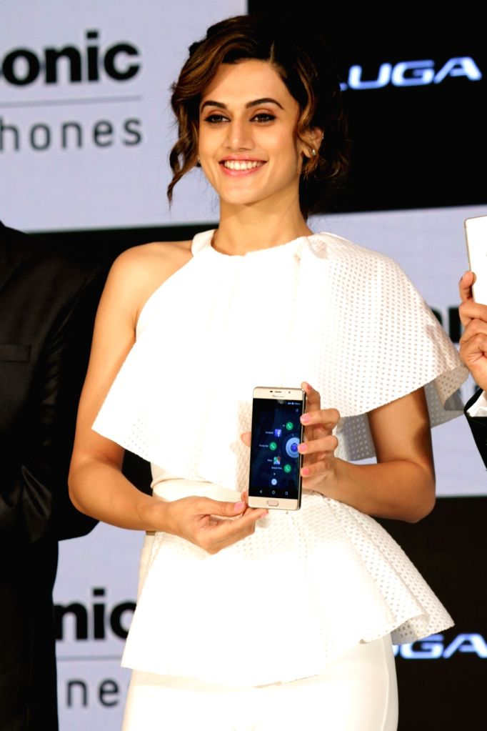 Actress Taapsee Pannu at the launch of Panasonic A3 smartphone in New Delhi, on Aug 9, 2017. - Taapsee Pannu