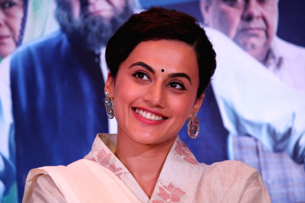 "Actress Taapsee Pannu at the promotion of her upcoming film ""Mulk"" in New Delhi on July 23, 2018. - Taapsee Pannu"