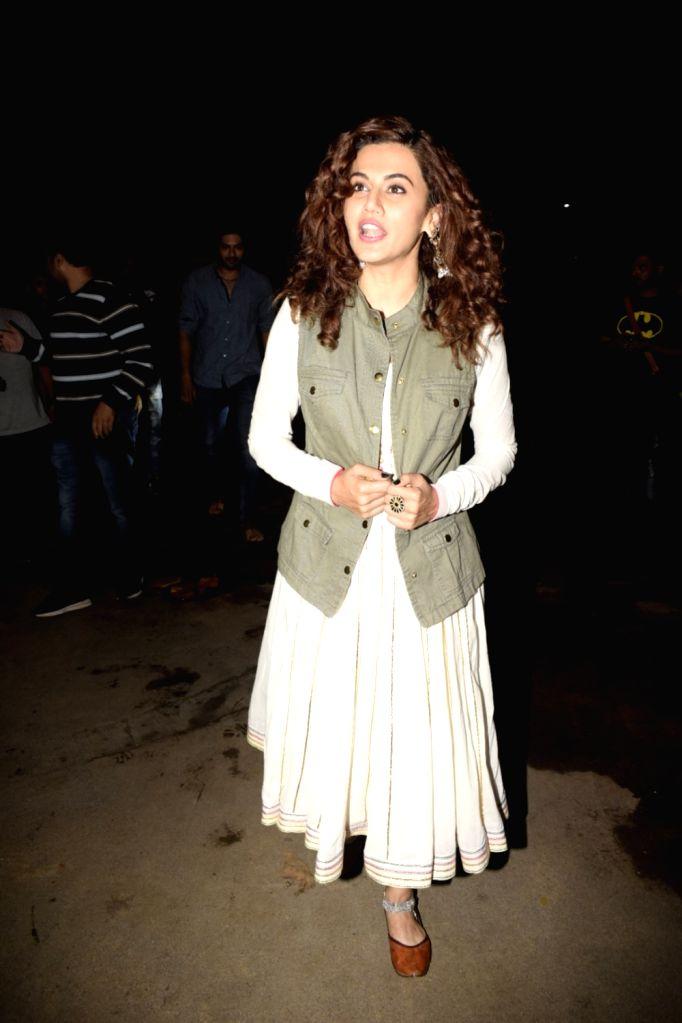 "Actress Taapsee Pannu at the special screening of upcoming film ""Gali Guleiyan"", in Mumbai on Sept 3, 2018. - Taapsee Pannu"