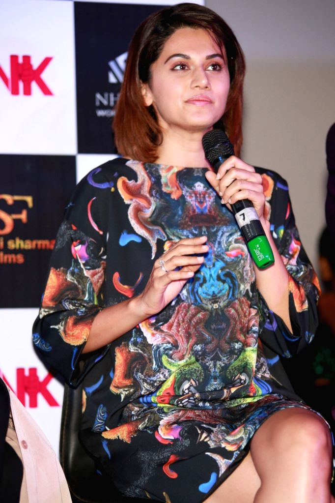 "Actress Taapsee Pannu during a press conference to promote their film ""Pink"" in New Delhi on Sept 16, 2016. - Taapsee Pannu"