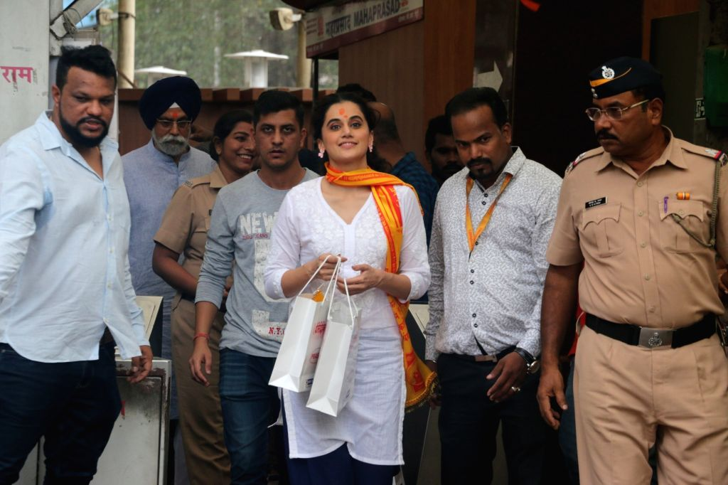 Actress Taapsee Pannu during her visit to the Siddhivinayak Temple in Mumbai on Oct 25, 2019. - Taapsee Pannu